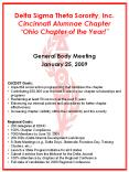 Delta Sigma Theta Sorority, Inc. Cincinnati Alumnae Chapter Ohio Chapter of the Year!