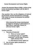 Human Development and Human Rights Human Development Repor