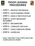 troop leading procedures step 1 - receive the mission step