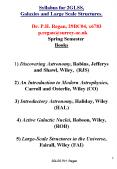 Syllabus for 2GLSS, Galaxies and Large Scale Structures.      Dr. P.H. Regan, 29BC04, x6783   p.regan@surrey.ac.uk    Spring Semester Books  1) Discovering Astronomy, Robins, Jefferys and Shawl, Wiley, (RJS) 2) An Introduction to Modern