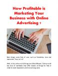 How Profitable is Marketing Your Business with Online Advertising ?