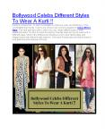 Bollywood Celebs Different Styles To Wear A Kurti !!