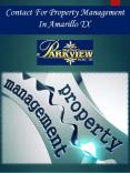 Contact For Property Management In Amarillo TX