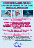 SWIMMING CLASSES FOR THE CHILDRENS MEMBER OF THE CLUB session of September