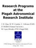 Research Programs at the Pisgah Astronomical Research Institute