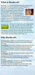 Biodiesel is renewable, as biodegradable as sugar, and less toxic than table salt. Since biodiesel is made from renewable resources, it burns cleaner and is less damaging to humans and the environment. Biodiesel can be made from domestic renewable