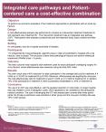 Integrated care pathways and Patientcentered care a costeffective combination