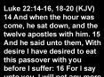Luke 22:1416, 1820 KJV