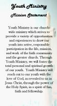 Youth Ministry is our churchwide ministry which strives to provide a variety of opportunities and ex