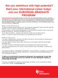 Are you ambitious with high potential Start your international career today Join our EUROPEAN GRADUA