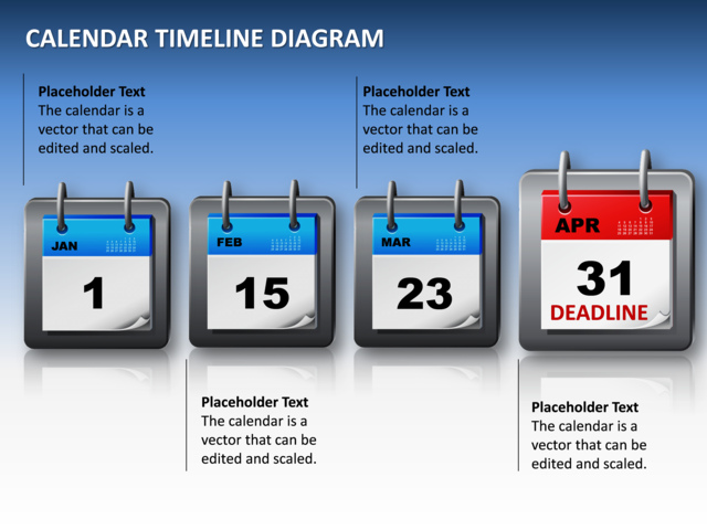 PowerPoint Slide - Calendar Timeline Diagram - 3D - Blue - 4 ...