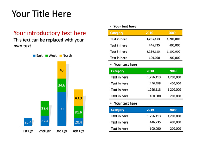 powerpoint slide - chart stacked column and table - multicolor, Powerpoint templates