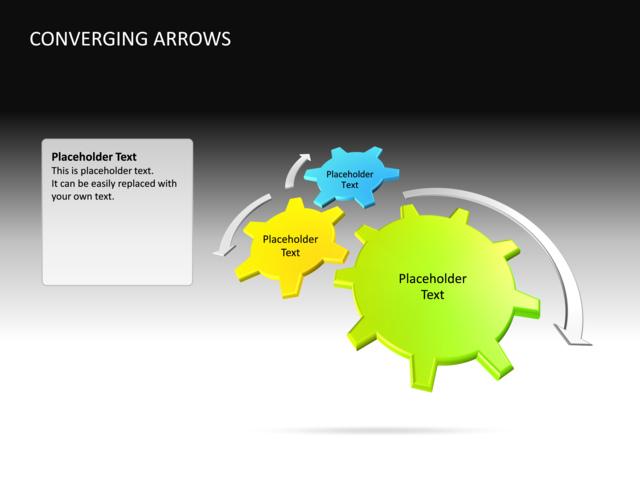 powerpoint slide - converging arrows diagram - 3d - multicolor - 3, Powerpoint templates