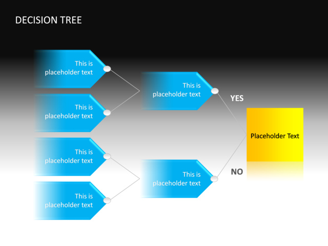 powerpoint slide - decision tree diagram - 3d - blue - cg-34, Powerpoint templates