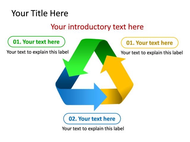 powerpoint slide - diagram arrow - multicolor - 3 arrows - tg221, Powerpoint templates