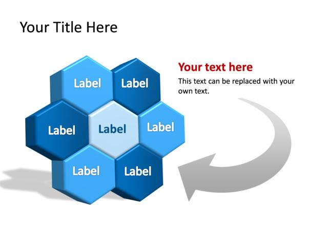 powerpoint slide - diagram hexagon - 3d - blue - 7 hexagons, Powerpoint templates