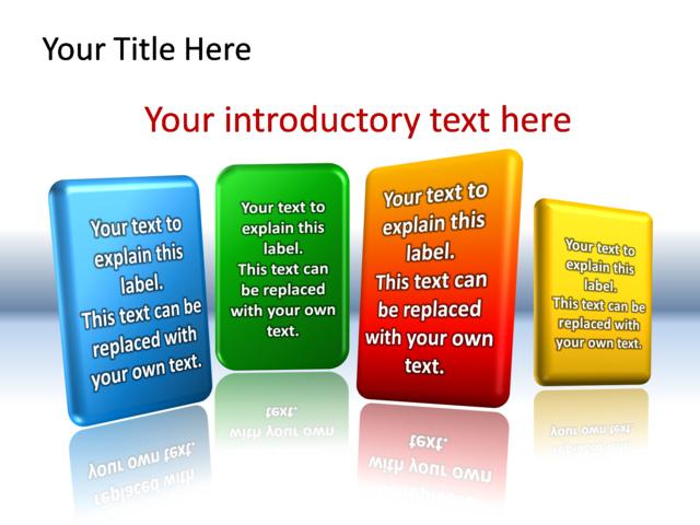 powerpoint slide - diagram text box - 3d - multicolor - 4 text, Powerpoint templates