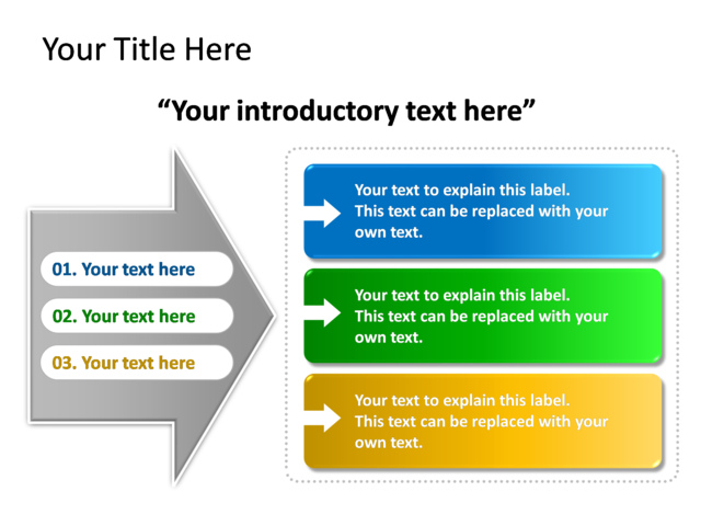 powerpoint slide - diagram text box - multicolor - 3 text boxes, Powerpoint templates