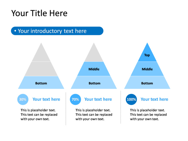 powerpoint slide diagram triangle blue 3 triangles tg 383