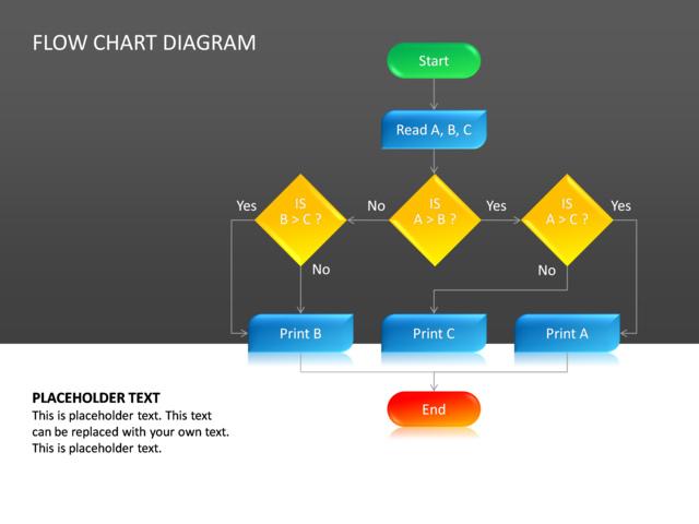 powerpoint slide - flow chart diagram - 3d - multicolor - cg-24, Powerpoint templates