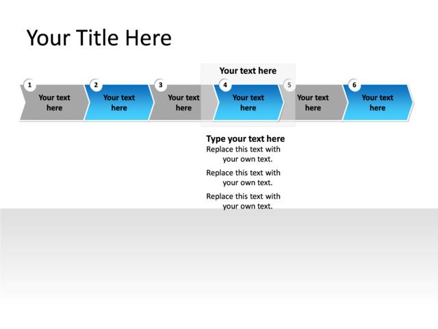 PowerPoint Slide - Flowchart Diagram - 6 arrows - Multicolor