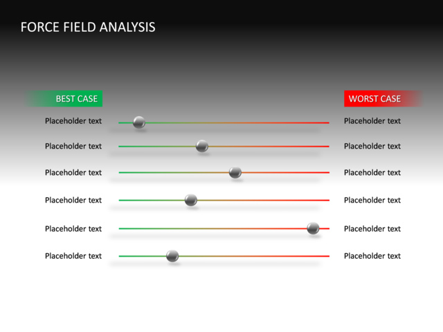 Powerpoint slide force field analysis diagram 3d multicolor 6 lines