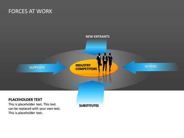 powerpoint slide - forces at work diagram - 3d - blue - 4 forces, Powerpoint templates