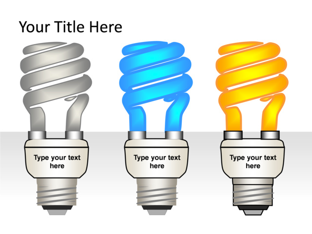 Powerpoint Slide - Light Bulb Diagram - 3d