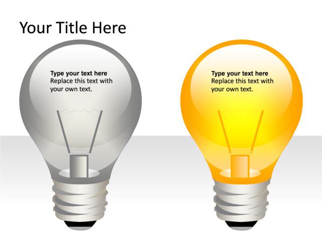 Powerpoint Slide Light Bulb Diagram 3d 2 Lightbulbs Yellow