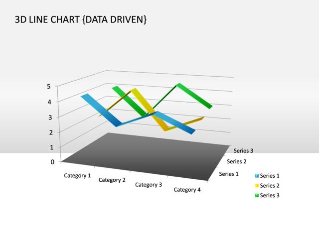 powerpoint slide - line chart - 3d - multicolor - data driven - cg, Powerpoint templates