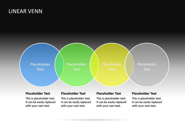 Powerpoint Slide Linear Venn Diagram 3d Multicolor 4 Circles