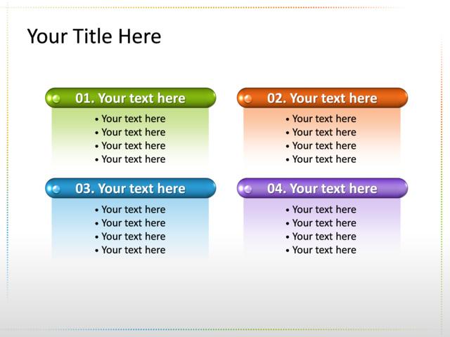powerpoint slide list diagram multicolor 4 bars tg4 crystalgraphics