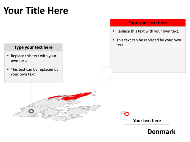 powerpoint slide - map of denmark - gray - pl21 | crystalgraphics, Powerpoint templates