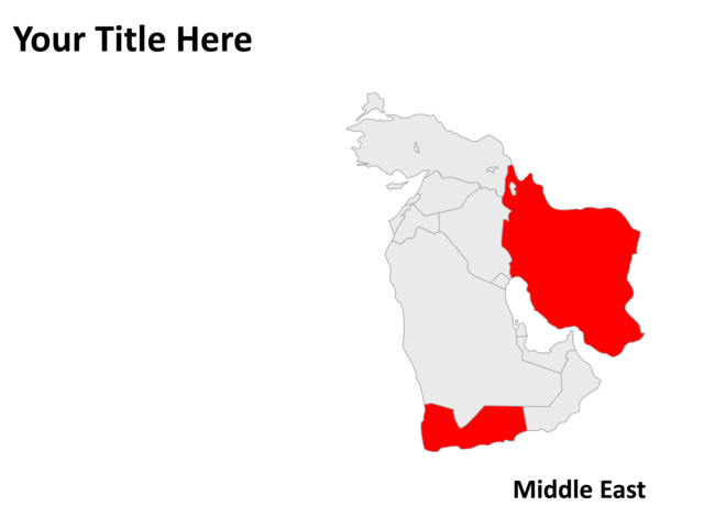 PowerPoint Slide Map of Middle East Gray PL57