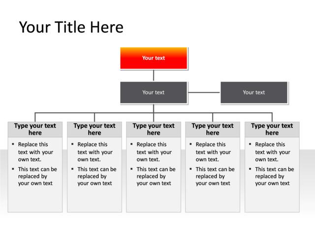 PowerPoint Slide - Organization Chart - 3 levels - red - PL382 ...