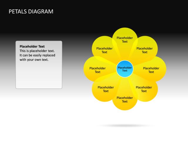 powerpoint slide - petals diagram - 3d - yellow - 8 petals - cg-60, Powerpoint templates