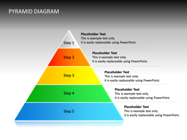 powerpoint slide pyramid diagram 3d multicolor 5 levels cg