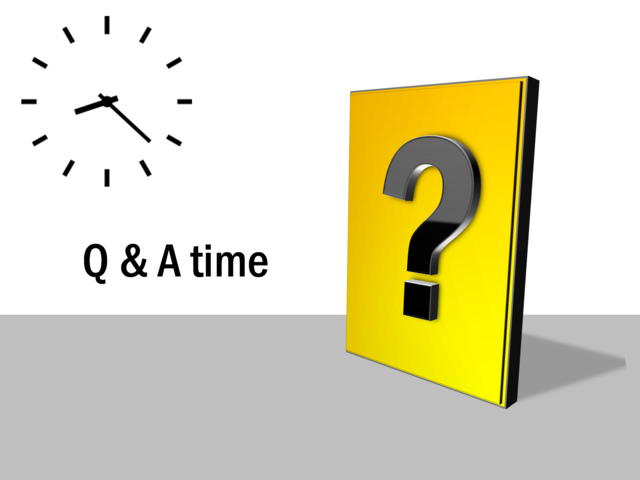 Powerpoint slide q and a diagram time yellow question mark