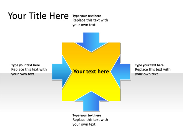 powerpoint slide - relationship diagram - 4-arrows - multicolor, Powerpoint templates