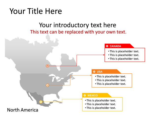 Powerpoint Slide Map Of North America Multicolor Tg136