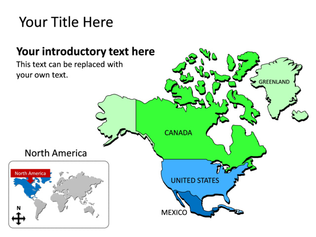 PowerPoint Slide  Map of North America  Multicolor  tg137