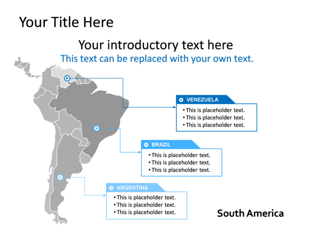 powerpoint slide map multicolor south america tg 138