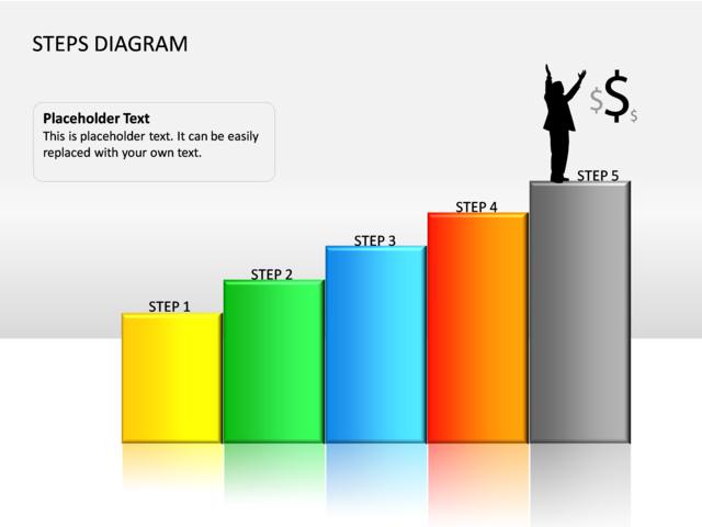 powerpoint slide - steps diagram - 3d - multicolor - 5 bars - cg, Powerpoint templates