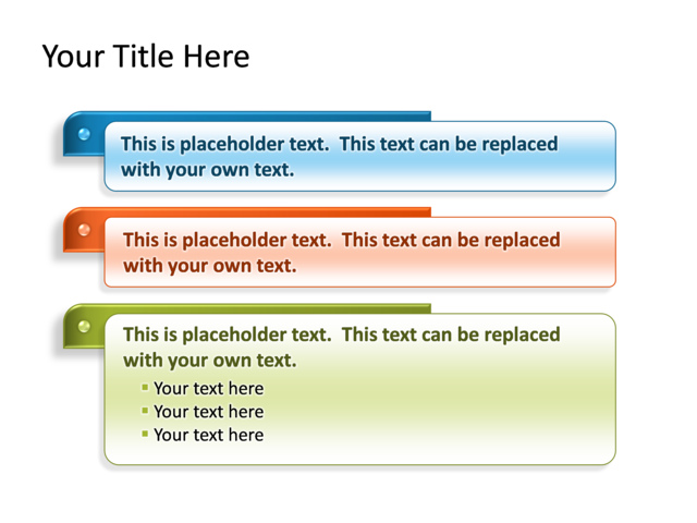 powerpoint slide - text box diagram - multicolor - 3 text boxes, Powerpoint templates