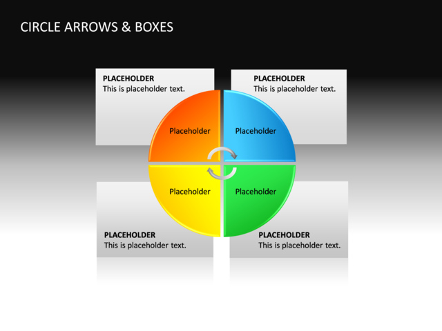 powerpoint slide - textbox diagram - 3d - multicolor - 4 boxes, Powerpoint templates