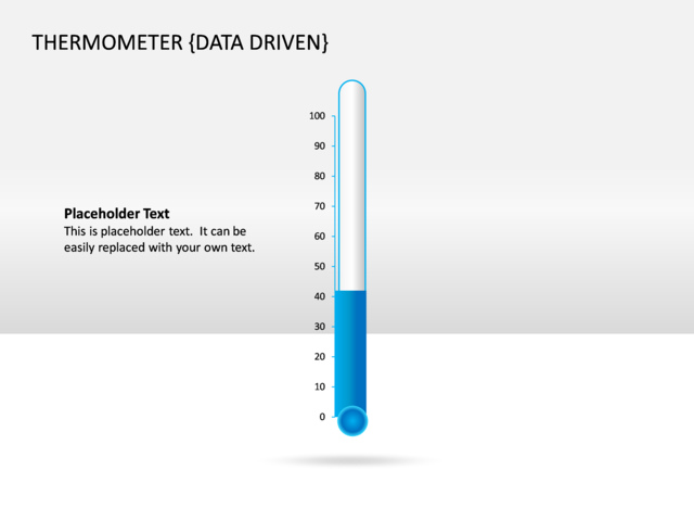 powerpoint slide thermometer chart 3d blue data driven cg