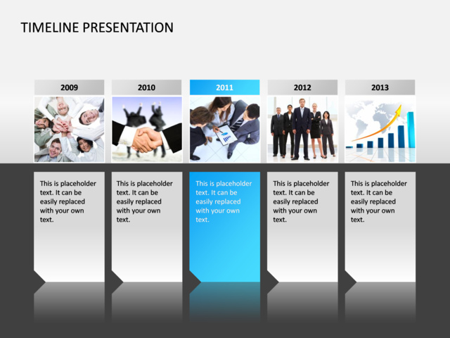 powerpoint slide - timeline presentation diagram - 3d - blue - 6, Powerpoint templates