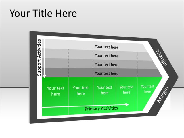 powerpoint slide - value chain diagram - green - 9 activities - mp, Powerpoint templates