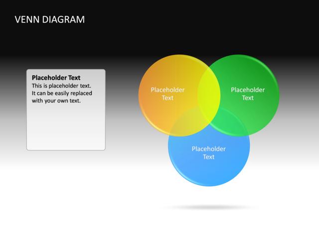 Powerpoint Slide Venn Diagram 3d Multicolor 3 Circles Cg