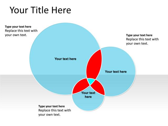 Powerpoint Slide Venn Diagram Blue 3 Circles Pl133